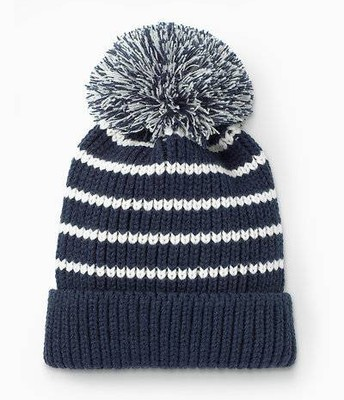 Pom Hat - Navy/White Stripe