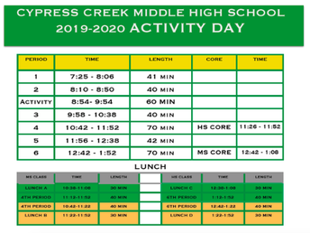 FRIDAY: Activity Day Bell Schedule