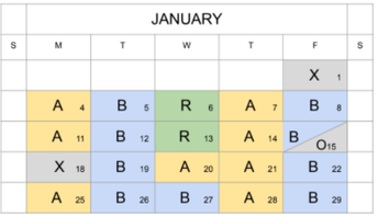Starting This Tuesday, January 19, 2021: Revised, Hybrid Calendar
