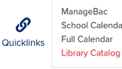 Quicklinks > Library Catalog