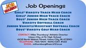 Spring Season Coaching Positions Open