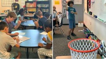 Trashketball math practice in 5th grade