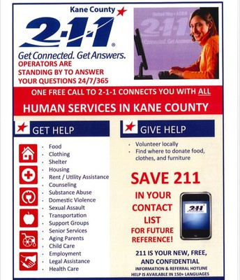 Kane County 2-1-1 Get Connected. Get Answers.
