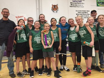 Chester 6th graders proudly displaying their 1st place trophy from their recent Hoops Shootout Tourney!