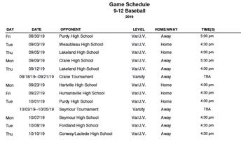 2019 Varsity Fall Baseball Schedule