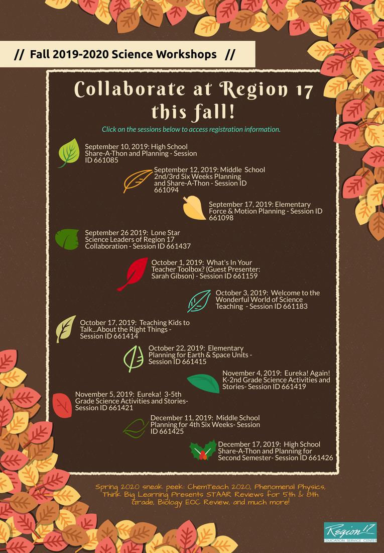 Fall 2019 Science Workshop Flyer