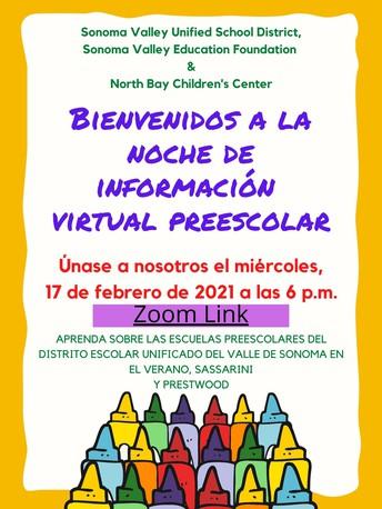 Noche virtual de información sobre el preescolar