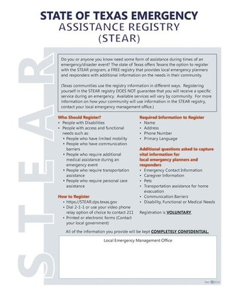 State of Texas Emergency Assistance Registry (STEAR)