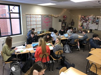 "Students write, ""I Believe,"" statements in Mrs. Swett's Lang and Lit class"