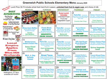 January Lunch menu at the elementary schools