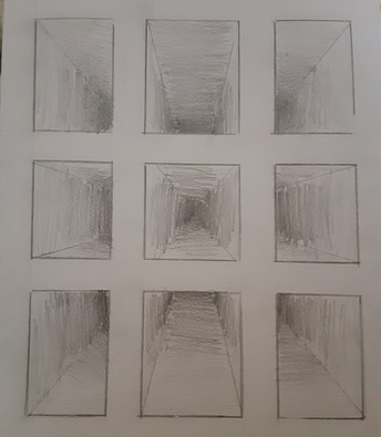 Black & White drawing of perspective rectangles 9 total