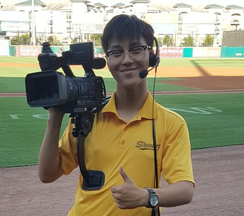 Anthony Pham with camera equipment at Constellation Field