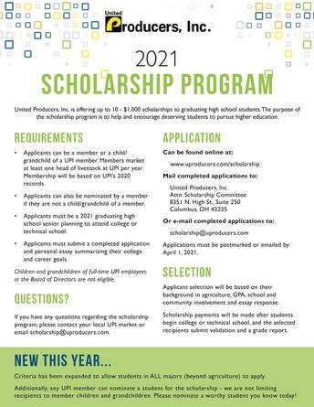 United Producer, INC 2021 Scholarship Program