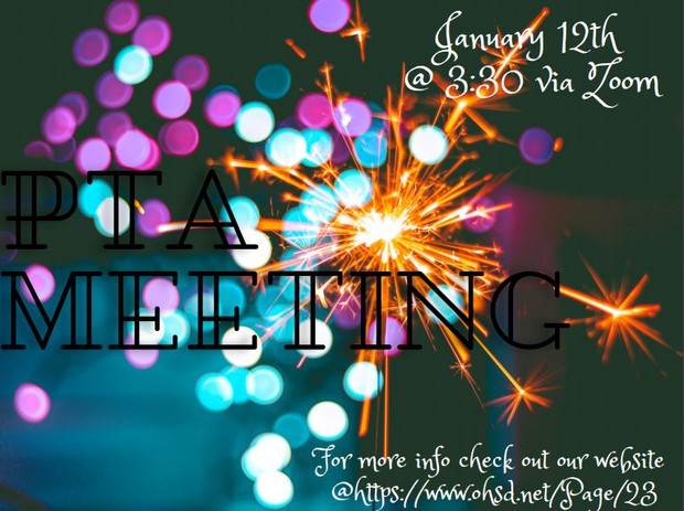 pta meeting January 12, 3:30 pm via zoom