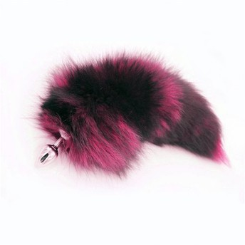 "16"" Real Fox Tail Butt Plug – Black & Hot Pink (3 Sizes Available)"