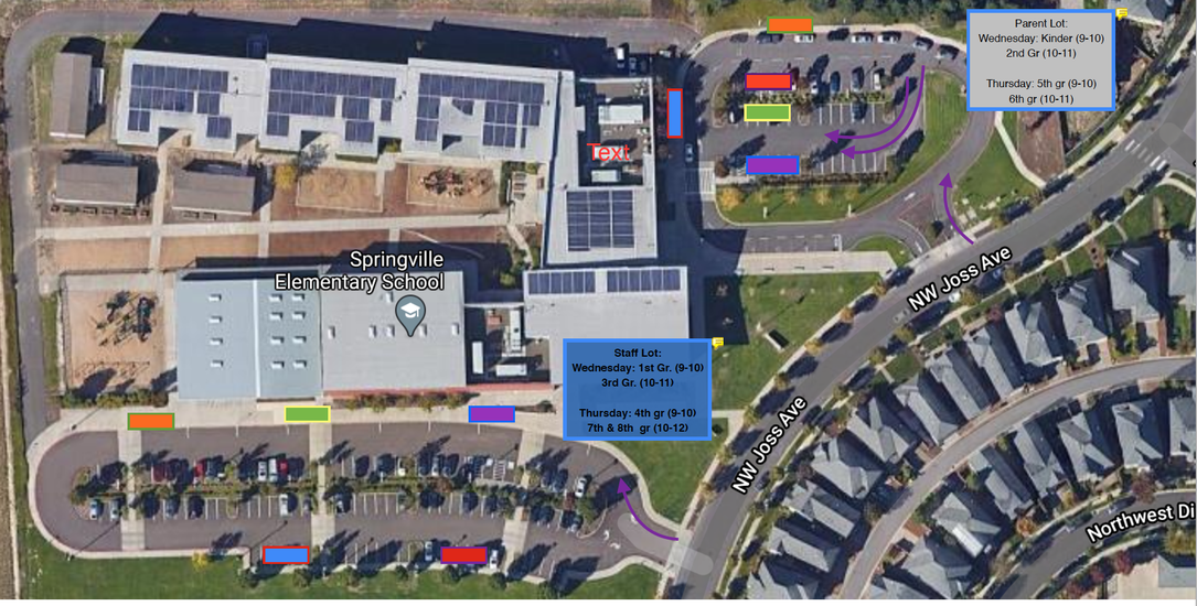 staff and parent parking lot map