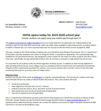 Indiana Deadline to complete FAFSA is 4/15/2019