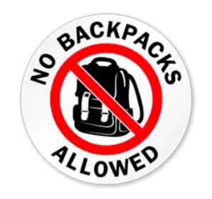 No Bags, Backpacks, or Slingpacks beginning 5/20
