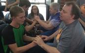 Jonathan Davidson using tactile sign language