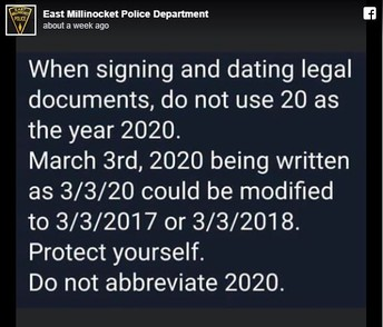 IMPORTANT WARNING - Write Full Date in 2020