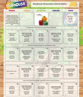 January's Lunch Calendar!