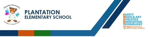 A graphic banner that shows Plantation Elementary school's name  with the SMART logo