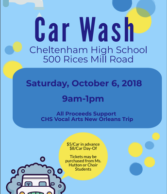 CHS Vocal Performing Arts Boosters Car Wash