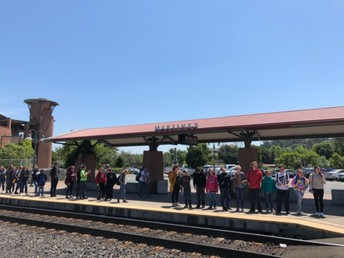6th graders waiting at the train station!