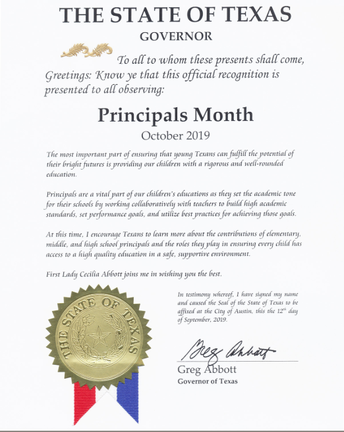 SHISD Joins Governor Greg Abbott in Celebrating National Principals Month
