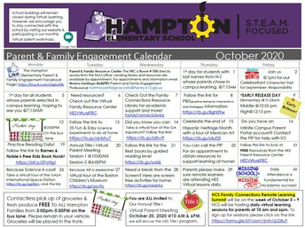 October Parent & family Engagement Calendar