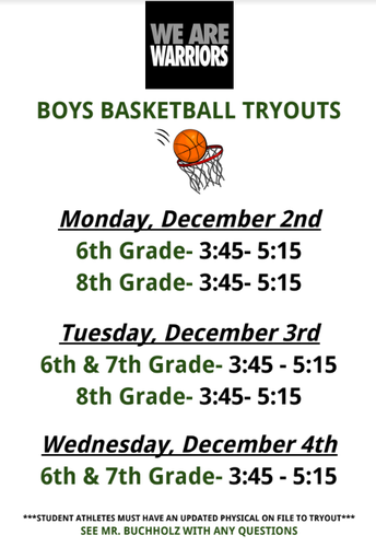 Boys Basketball Tryout Information:**
