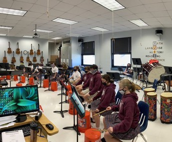 Percussion practice in the Music Room