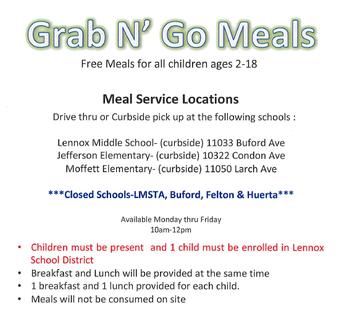 Almuerzo gratis en JEFFERSON 10 a.m.-12 p.m.