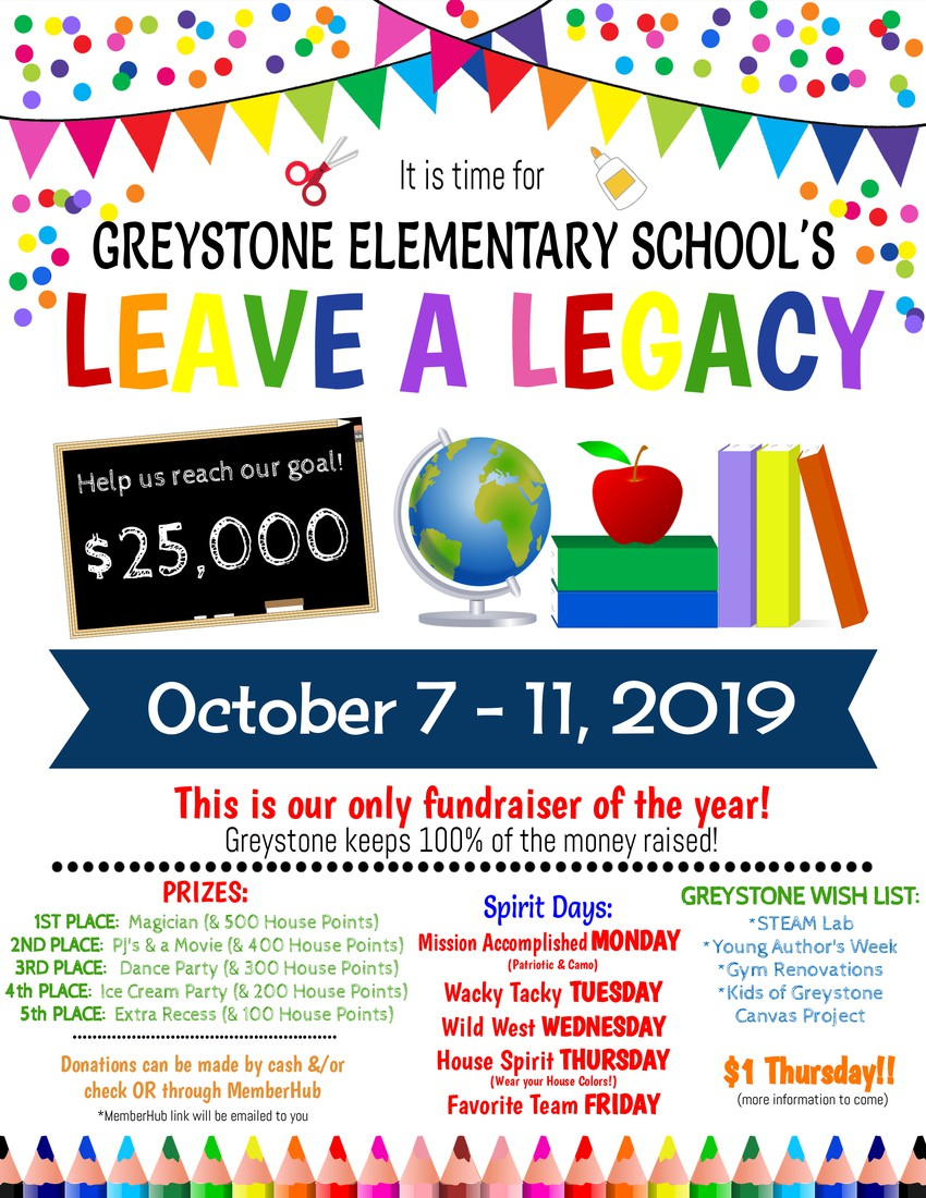 Leave a Legacy Fundraiser October 7 - 11