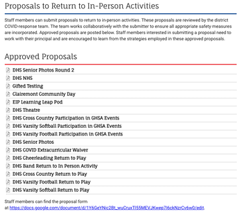 Proposals for specific in-person activities and programs