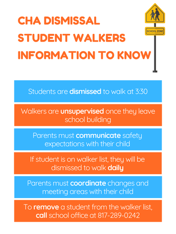 CHA Student Walkers at Dismissal Infographic