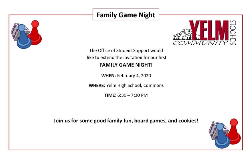 Special Education Parent Advisory is hosting Game Night at YHS from 6:30-7:30pm