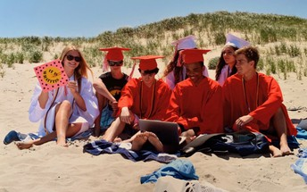 Some Seniors Participating in our Zoom Graduation on the Beach