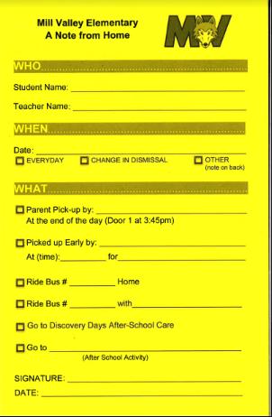 Dismissal Reminders....