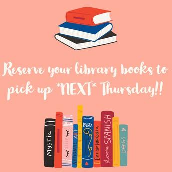 Book Pick-Up *NEXT* Thursday 11am-2pm