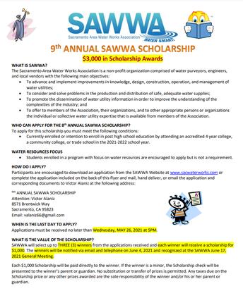 Sacramento Area Water Works Association Scholarship