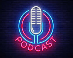 Neon sign shows the word PODCAST in red letters at the bottom and a white neon microphone in the center of a blue and red neon design.