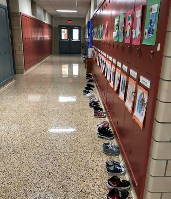 All of the Scholars lined their shoes up outside their lockers!