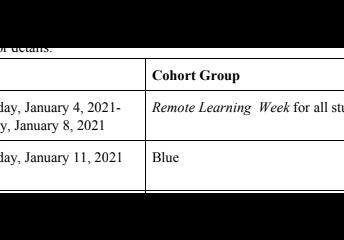 1/4 Week Schedule