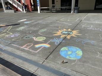 Student ground graffiti for mental health awareness