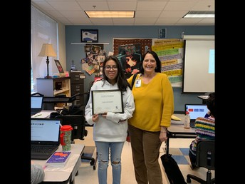 11th Grade student of the month Dalila Hernandez