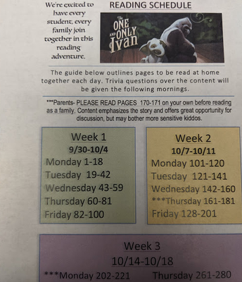 Our reading schedule