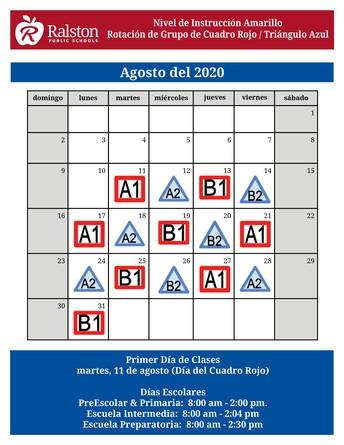 Calendario de Cuadro Rojo / Triángulo Azul - agosto del 2020