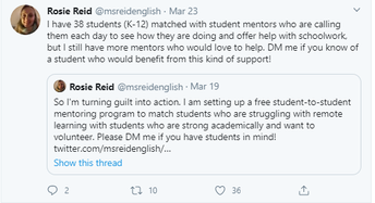 NHS mentors connecting with students in need