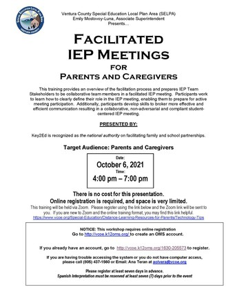 Facilitated IEP Meetings for Parents and Caregivers